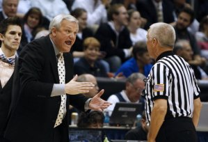 Mercer coach Bob Hoffman during this season's NIT loss to BYU in Provo, Utah. Hoffman said the USU team his club faced in the CIT title last year and this season's Sweet 16 darling Florida Gulf Coast differ drastically in playing styles. He did know former Aggie point guard Brockeith Pane in the star's high school days, though.