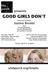 "Invitation to ""Good Girls Don't"" event with Mormon writer Joanna Brooks this past spring. Brooks led fans in celebrating Mormon feminism."
